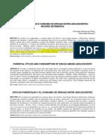 Estilos parentais e consumo de drogas entre adolescentes - revisão sistemática