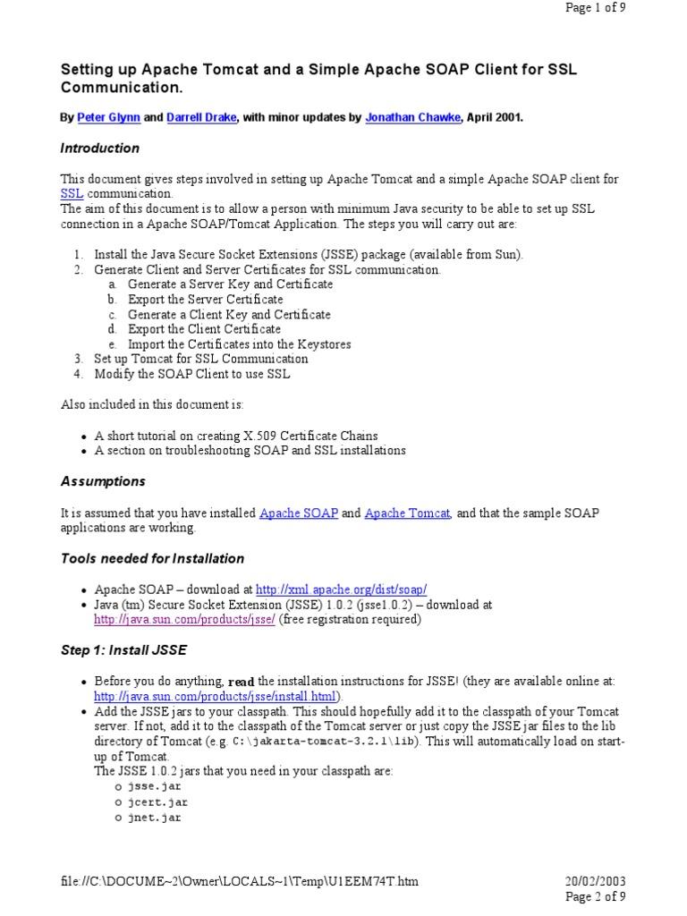 Faq Tomcat Soap Ssl Transport Layer Security Public Key Certificate