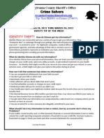 Crime Solvers Report 3/20-3/26/213