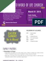 Church Bulletin for March 29 & 31, 2013