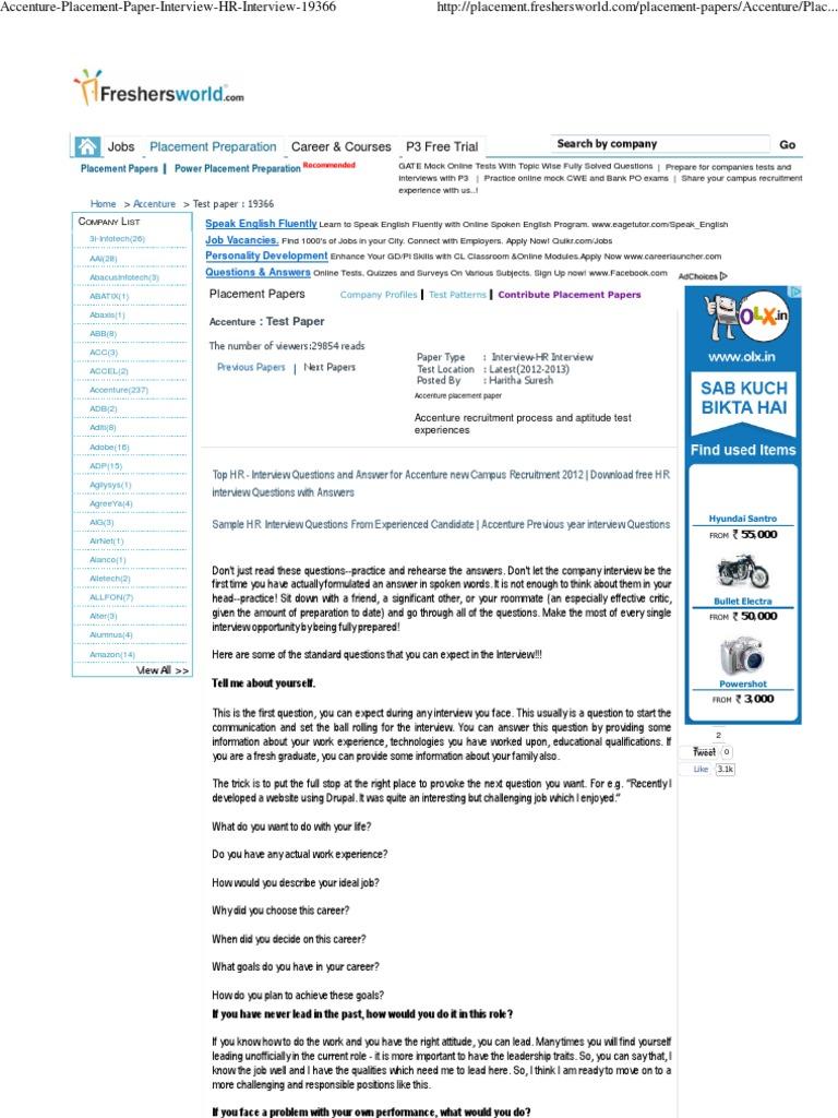 Accenture Placement Paper Interview HR Interview 19366