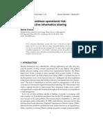 Journal of Operational Risk Management - Operational Risks of Not Sharing Data