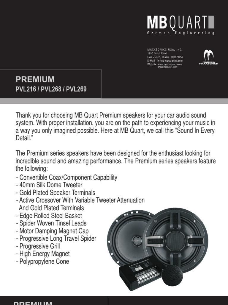 Mb Quart Premium P Vl Series Speaker Manual Loudspeaker Electrical Connector