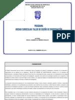 1. Programa- Taller de Diseño de Investigacion -  Plan de Curso