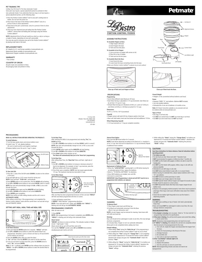 instruction manual for petmate s lebistro cat feeder meal rh scribd com Dog Feeder Bistro Cat Feeder