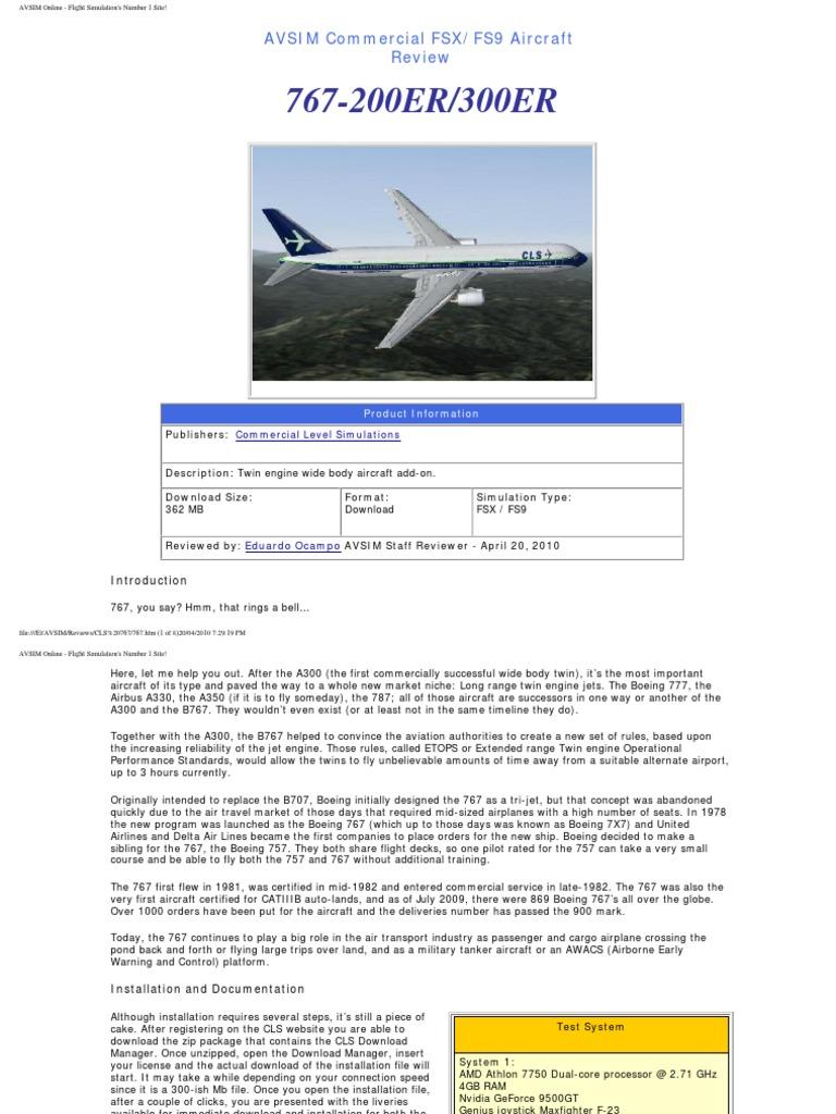 767-200ER/300ER: AVSIM Commercial FSX/FS9 Aircraft Review
