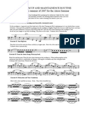 alessi warm up and maintenance routine for trombone | pdf | pitch (music) |  musical compositions  scribd