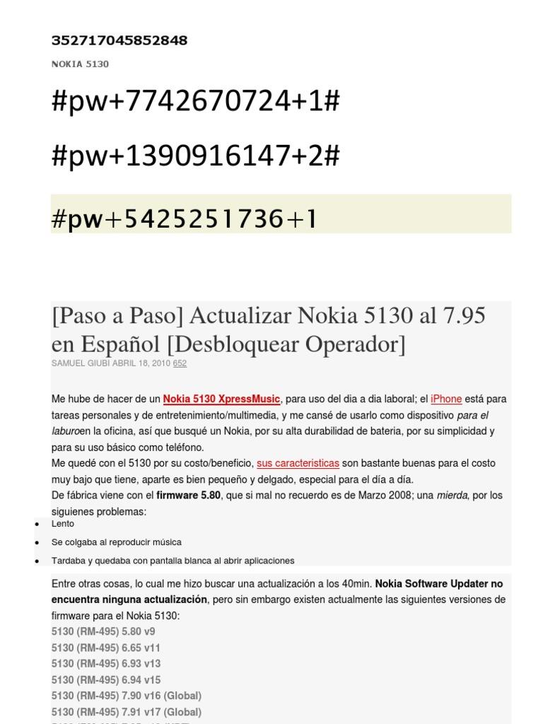 firmware nokia 5130 v7.97 español descargar