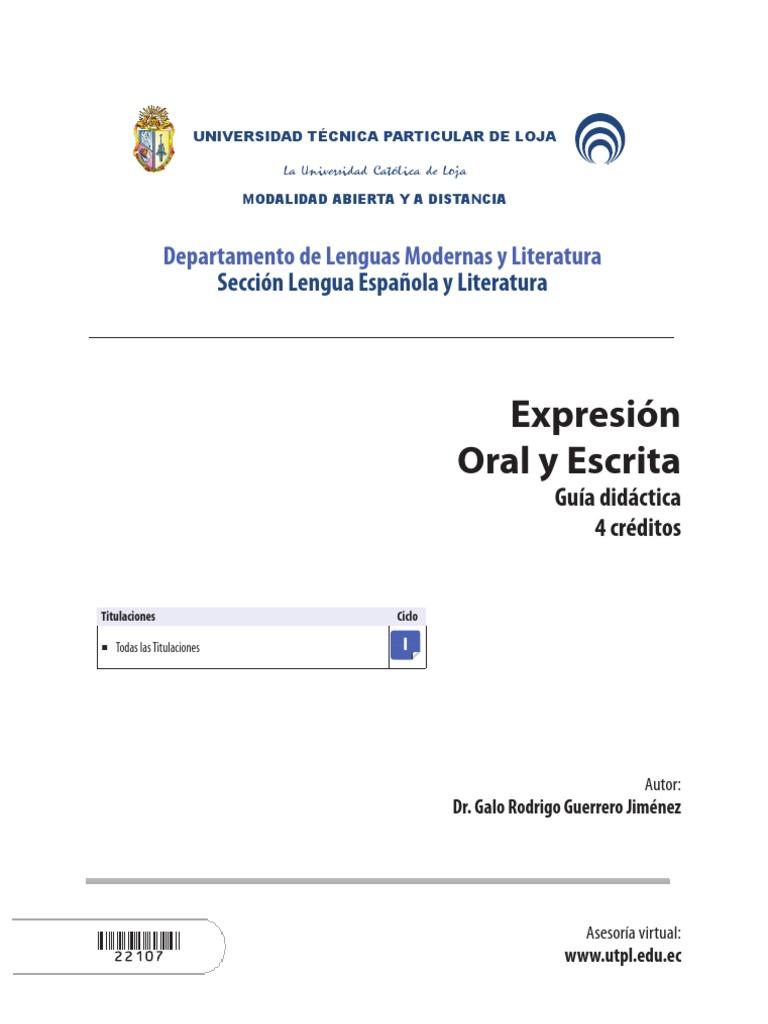 EXPRESIÓN ORAL Y ESCRITA