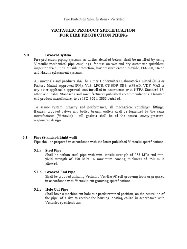 Victaulic Fire Protection Specification_march 06 | Valve | Pipe