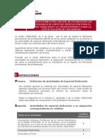 Instrucciones sobre Actividades de Especial Dedicacion 2008 09