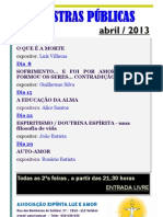 Palestras públicas de abril de 2013
