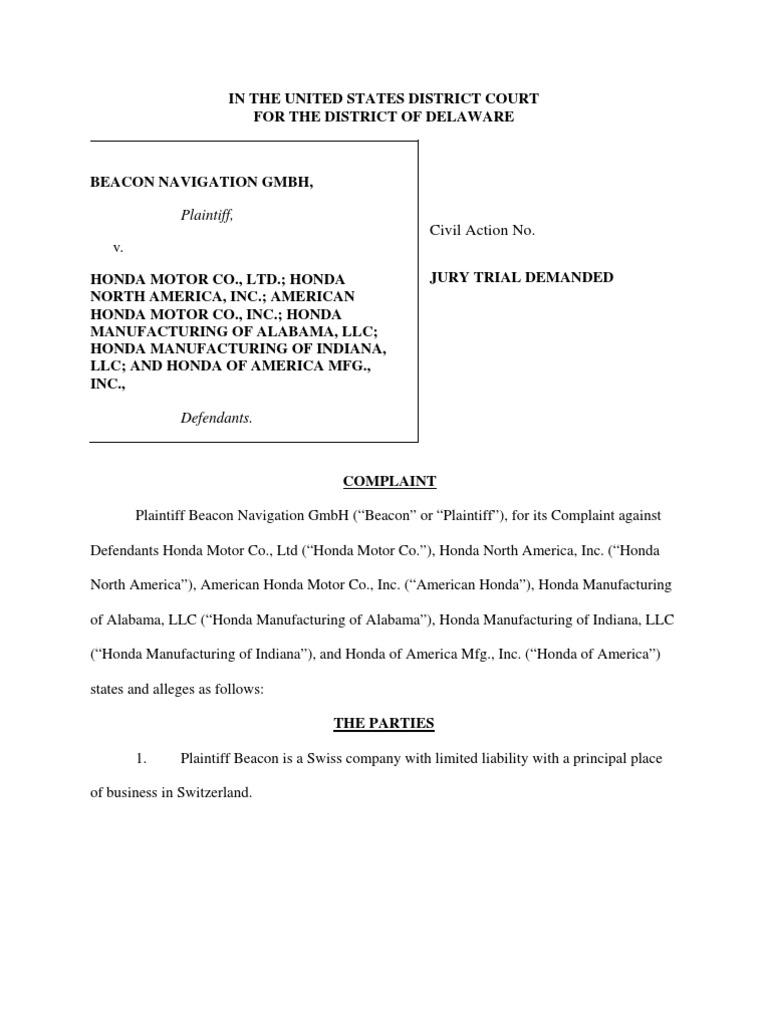 Honda Motor Et. Al. | Patent Infringement | Patent