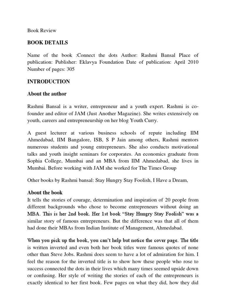 Connect The Dots Book By Rashmi Bansal Pdf