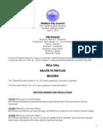 Medford City Council Agenda April 2, 2013