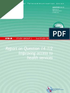 ITU-D-STG-SG02 14 1-2006-PDF-E | Telemedicine | Health Care