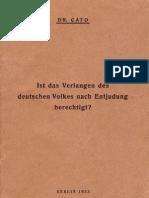 Cato Dr Ist Das Verlangen Des Deutschen Volkes Nach Entjudung Berechtigt 1933 De