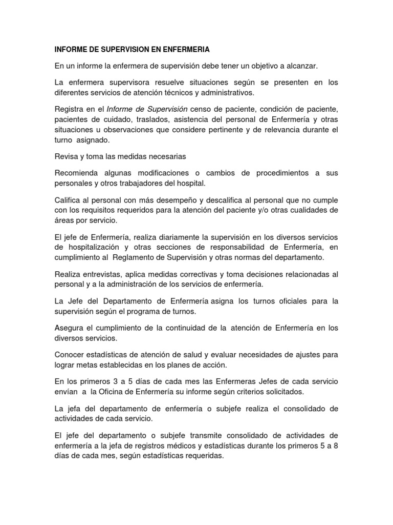 Informe de Supervision en Enfermeria Imprimir