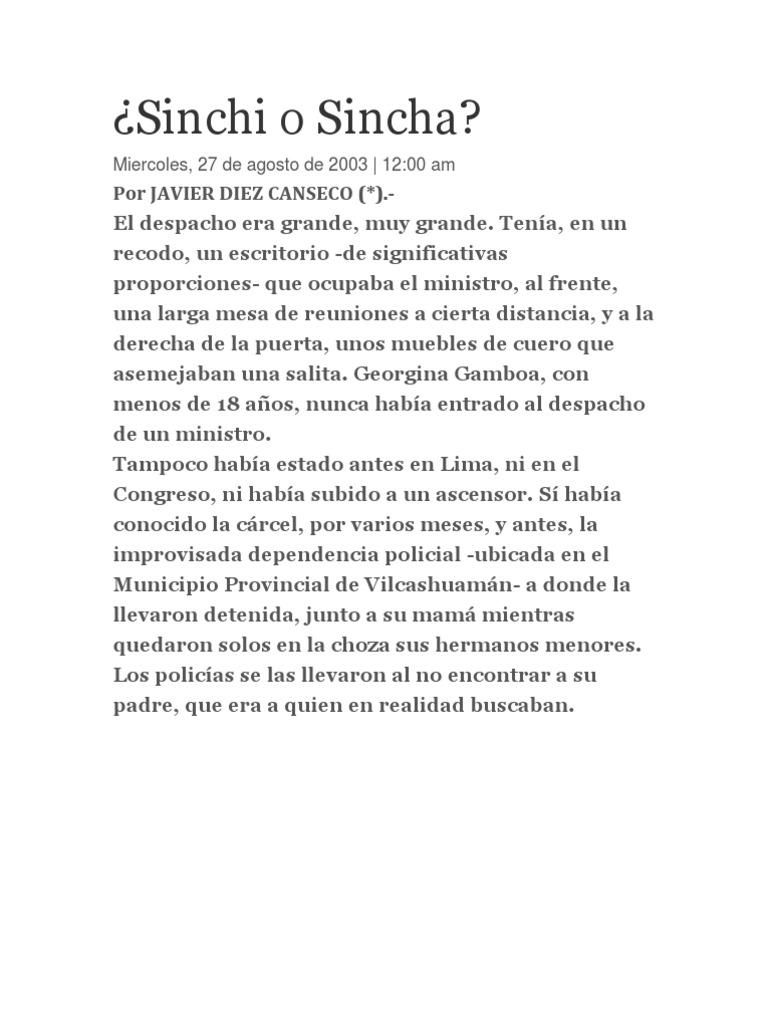 Sinchi O Sincha Por Javier Diez Canseco # Muebles Georgina