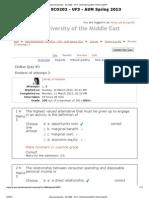 Answer Key Macroeconomics - ECO202 - UF3 - AUM Spring 2013 Online Quiz 1