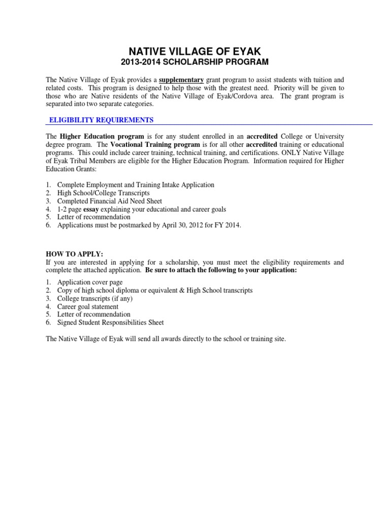 2013-2014 Scholarship Application - Student Financial Aid In The United States - Secondary School - 웹