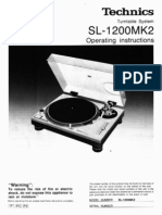 Technics SL-1200MK2 Turntable System Operating Instructions