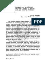 ARTÍCULO 4. DE LA METÁFORA AL SÍMBOLO. APROXIMACIÓN CRÍTICA AL POEMA ALTAZOR DE VICENTE HUIDOBRO,