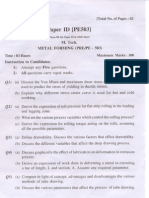 PTU M.tech in Production Engineering Metal Forming Sample Paper 1