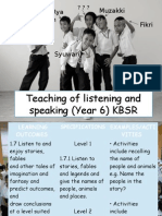 Teaching of Listening and Speaking (Year 6)