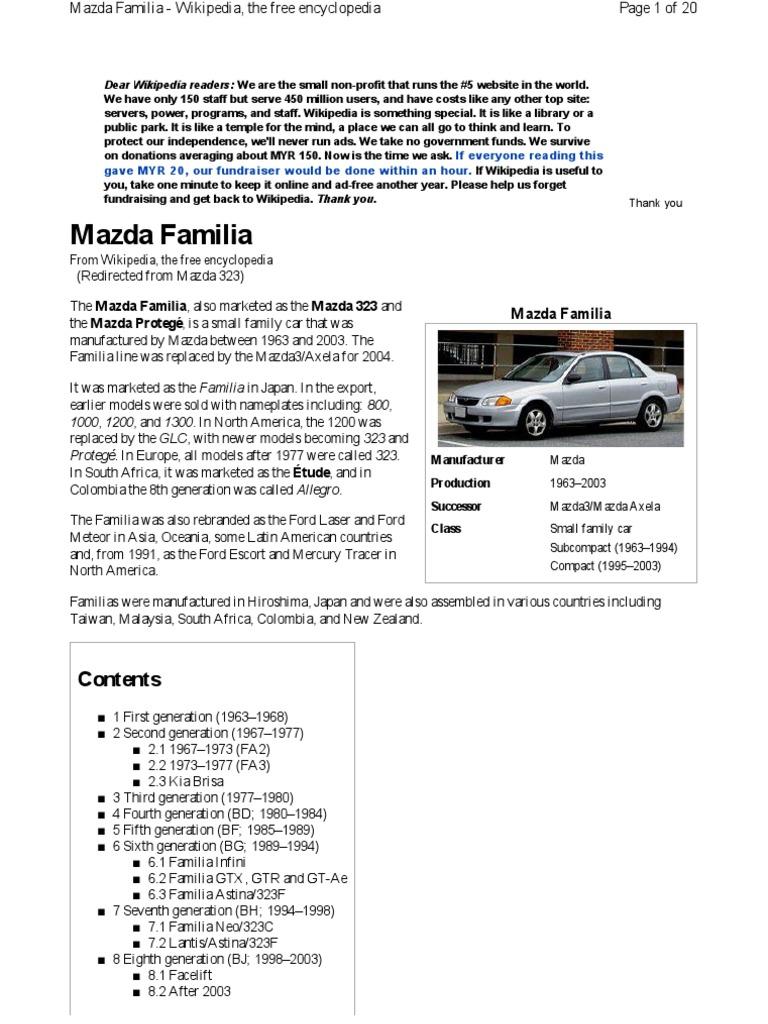 mazda 323 history vehicles wheeled vehicles rh scribd com
