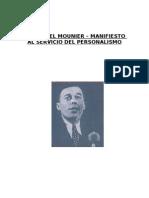 EMMANUEL MOUNIER - Manifiesto Al Servicio Del Personalismo