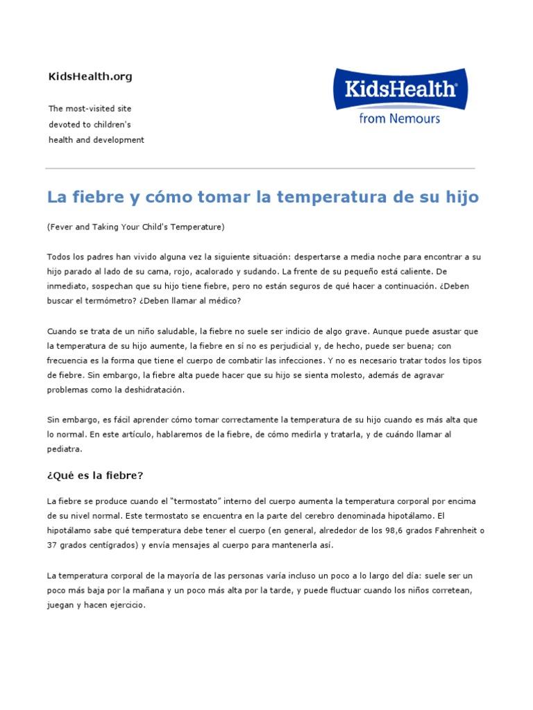 Temperatura normal sin fiebre