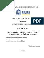 Referat Master -Tarnauceanu Cristian - Expertiza Tehnico Stiintifica a Scrisului - Umk Iasi