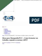 Dicas Para Monografia_TCC - Como Formatar Seu Trabalho, Segundo as Normas ABNT
