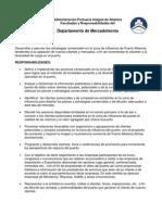 Responsabilidades del Depto. de Mercadotecnía