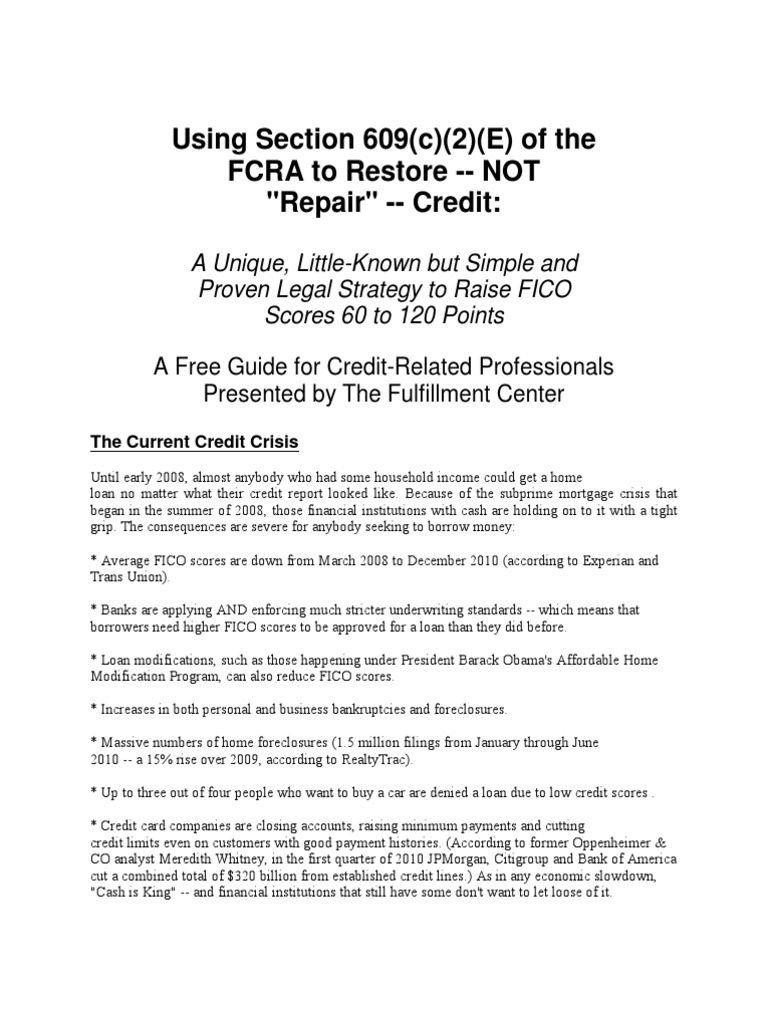 Section 609 of the fair credit reporting act loophole for 609 credit repair letters