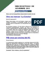 Resumen de Noticias 1 de Noviembre 2012