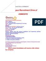 On Campus Recruitment Drive of OSMOSYS