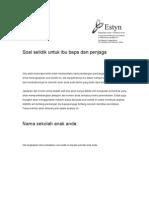 Malay Questionnaire for Parents and Carers Primary and Secondary Schools Soal Selidik Untuk Ibu Bapa Dan Penjaga