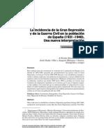 La Incidencia de la Gran Depresión y la Guerra Civil en la Poblcaión de España; 1931-1940 (Jordi Maluquer)