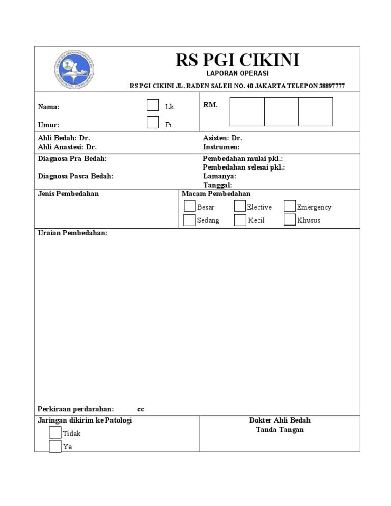 Form Laporan Operasi
