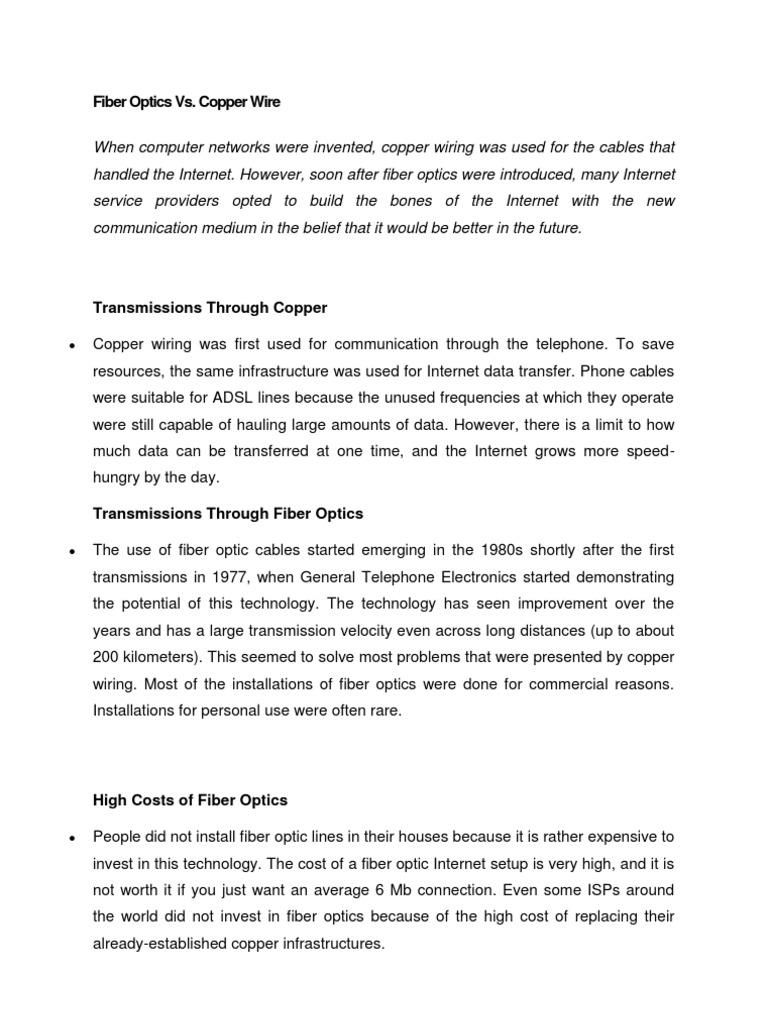 Fiber Optics vs Copper Wire   Optical Fiber   Cable on
