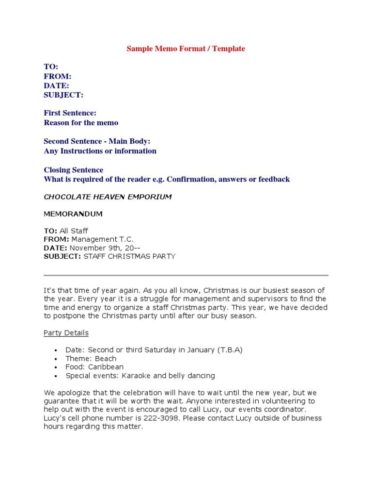 Sample Memo Format   Secretary   Résumé