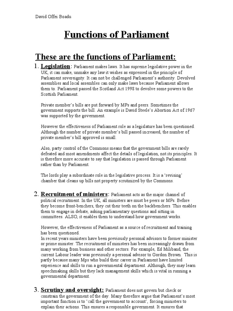 Functions Of Parliament Lesson 4 Parliament Of The United Kingdom