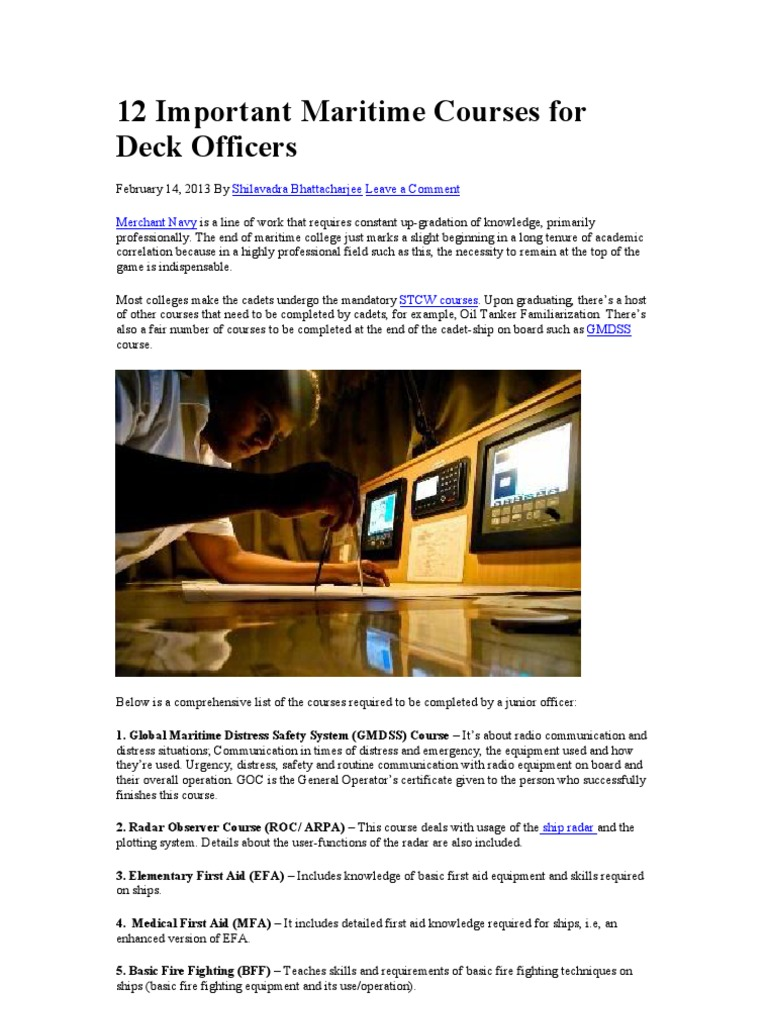 12 Important Maritime Courses for Deck Officers | Water