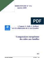 Comparaison européenne des aides aux familles 2009 caf