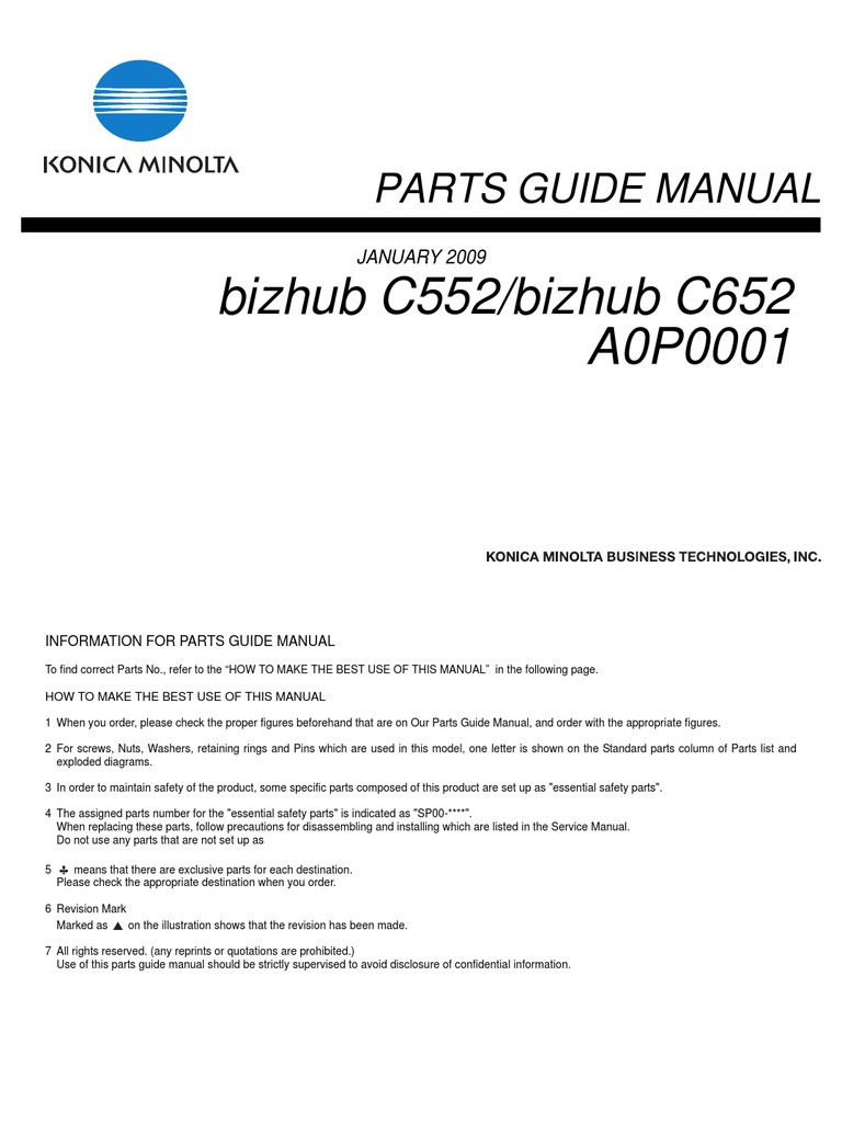 Parts Guide Manual Bizhub C552_bizhub C652 | Manufactured Goods | Computing  And Information Technology