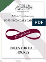 McMaster PSG Ball Hockey Rules