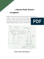 Peralatan Utama Pada Sistem Kriogenik