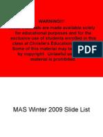 MAS Winter 2009 Slide List